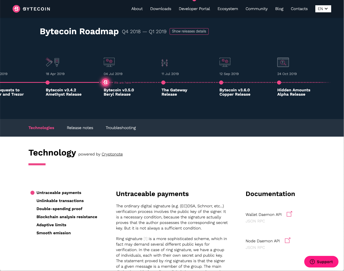 Bytecoin_Developer_Portal